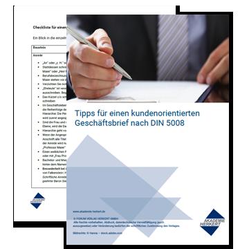 Checkliste Für Einen Kundenorientierten Geschäftsbrief Nach Din 5008