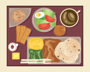 an illustration of a tray of food served on an aeroplane including cup of coffee salad crackers butter jam bread bun and an asian meal with chapatis on a beige background